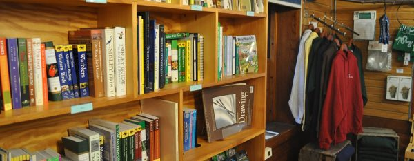 Books and shirts for sale at the Shaver's Creek bookstore