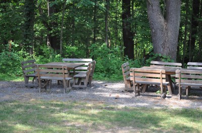 Picnic tables and benches at Shaver's Creek