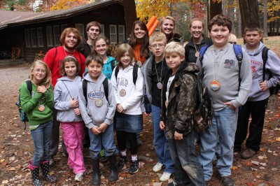 Outdoor school learning group