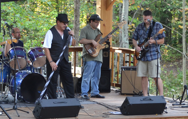 A blues band performs at Shaver's Creek