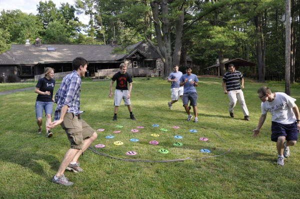 Penn State students participate in a team building activity
