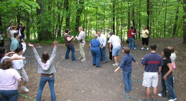 Twenty Penn State employees participate in a team building game