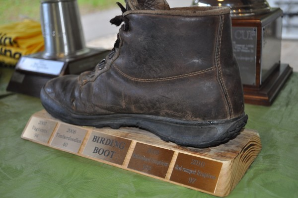 The Birding Boot award: a trophy made from a hiking boot