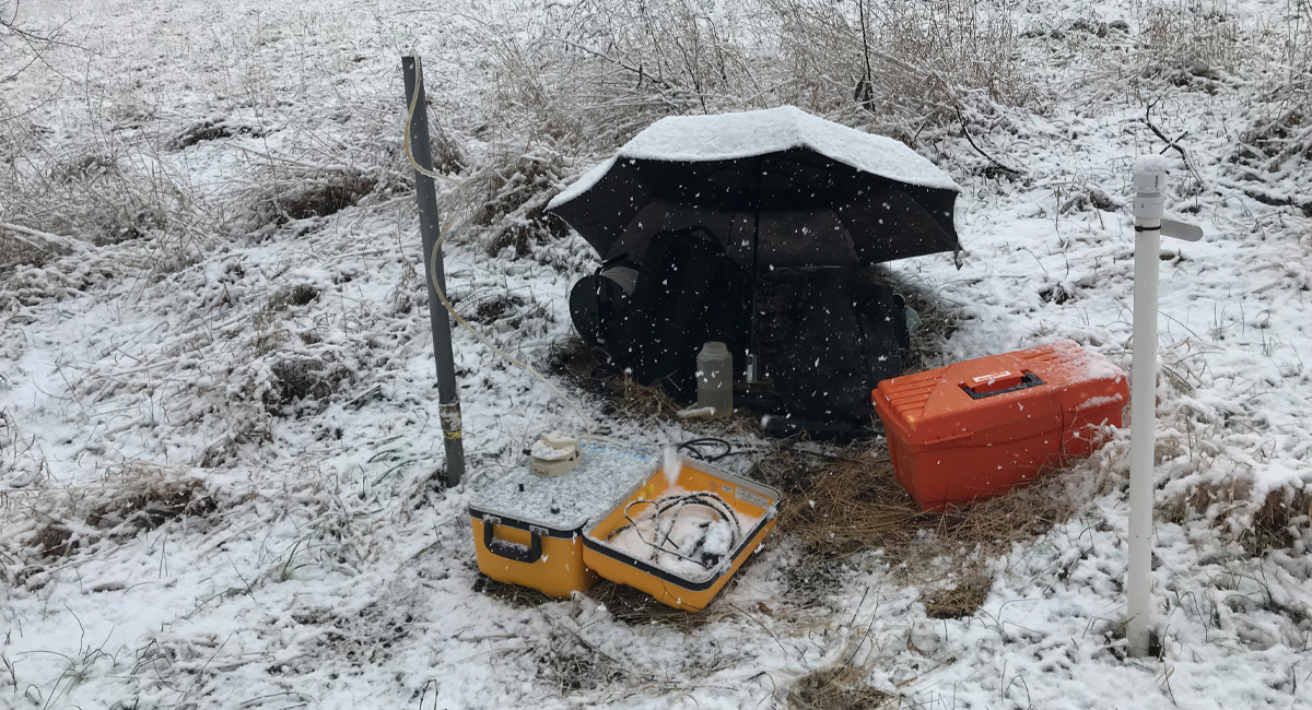 Groundwater sampling at Cole Farm in winter